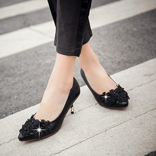 Latasa Mujeres Elegant Apliques Con Punta En Medio Del Talón Vestido Bombas Nupciales Zapatos Negro