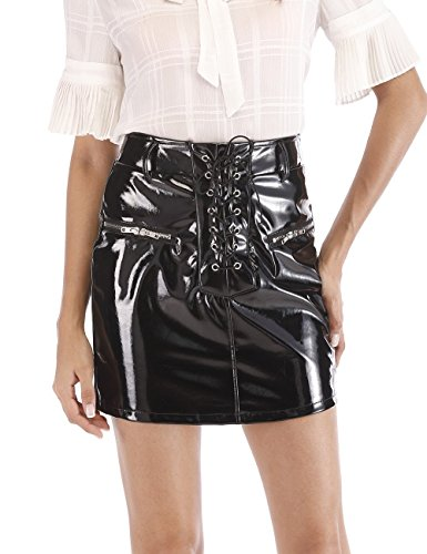 Agmibrelr Womens Wrap High Waist Faux Leather Short Skirts for Women Shiny Metallic Sparkly Vinyl Black S