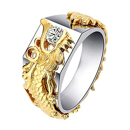 alignmentpai Mens/Womens Shiny Rhinestone Ring Fashion Dragon Shape Band Party Jewelry Gifts Golden 10