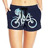 Pantgua1 Octopus Riding On The Sea Women Color Fashion Quick Dry Beach Board Shorts Pants Pocket