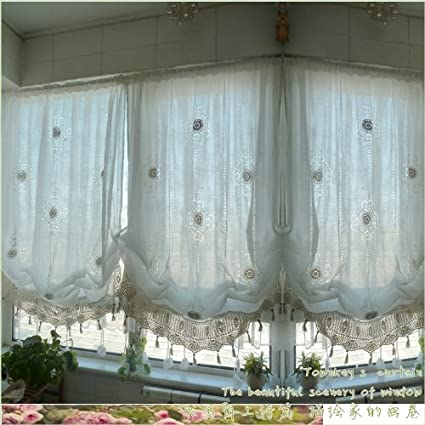 Beautiful FADFAY Pastoral Style Adjustable Balloon Curtain Living Room Shade Curtains  For Living Room Set,Off