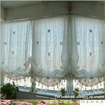 FADFAY Pastoral Style Adjustable Balloon Curtain Living Room Shade Curtains  For Living Room Set,Off
