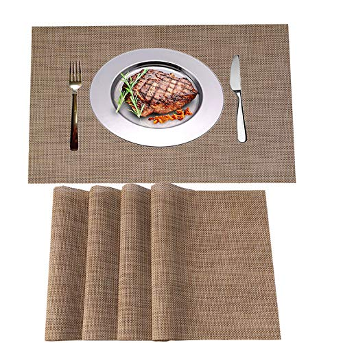 WANGCHAO Placemats Set of 8 Heat Insulation Stain Resistant Placemat for Dining Table Durable Crossweave Woven Vinyl Kitchen Table Mats Placemat (Linen, Set of 8)