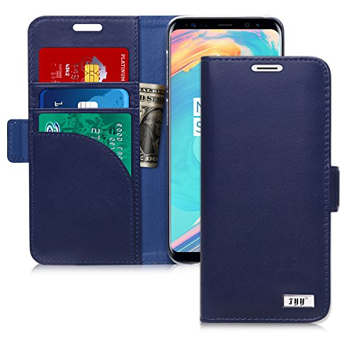 FYY [Genuine Leather] Wallet Case for Samsung Galaxy S9 2018, Handmade Flip Folio Wallet Case with Kickstand Card Slots Magnetic Closure for Samsung Galaxy S9 2018 Navy