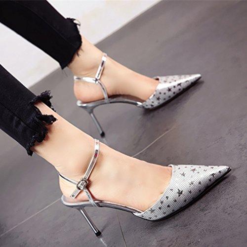 YMFIE Señoras con Finos Destellos Jefes Superficial Parte Banquetes High Heels Verano Sandalias Confortables. silvery