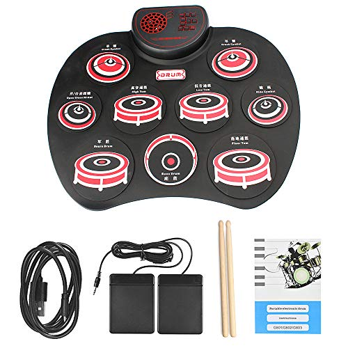 QStyle Portable Electric Drum Set,Foldable Roll Up Electronic Drum Set Pad with Speakers for Adults Kids Beginner Teens with Two Sticks Two Foot Pedals