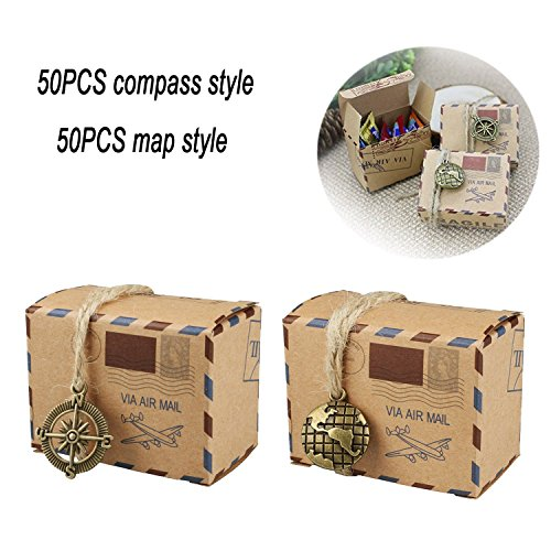 Bestga 100 PCS Candy Gift Boxes, DIY Kraft Boxes Retro Post Mail Style Wedding Party Favor Gift Boxes Xmas Cookie Treat Goody Paper Boxes Bags for Christmas, Birthday, Holiday, Thanksgiving