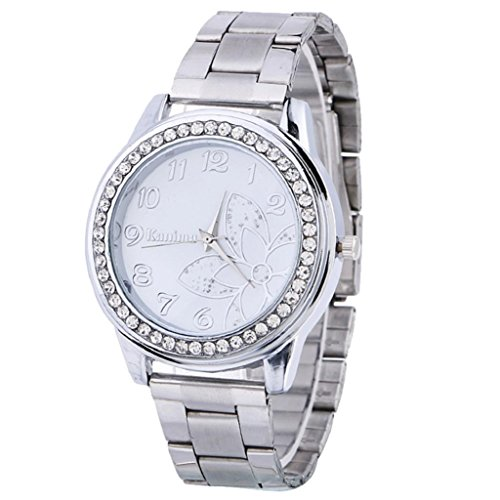 Quartz Wrist Watch,Hosamtel Luxury Diamond Flower Pattern Roman Numerals Analog Watch (Silver) (Watch Pocket Stainless Silver Steel)