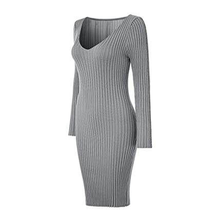 4de9ea4f74d9a Harpa Women's A-Line Dress Women Ladies Deep V Neck Striped Long Sleeve  Slim Fit