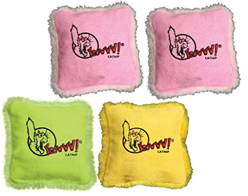 (4 Pack) Yeowww! 100% Organic Catnip Pillows (Assorted Colors)