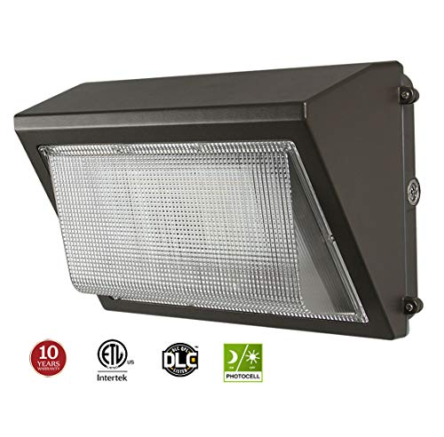 - LED Wall Pack with Dusk-to-dawn Photocell, 60W Waterproof Outdoor Commercial Lighting Fixture, 200-300W HPS/MH Replacement, 5000K 7200lm 100-277Vac ETL DLC Listed 10-year Warranty by Kadision