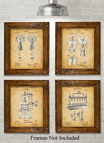 Original Wine Patent Art Prints - Set of Four Photos (8x10) Unframed - Great Gift for Wine Lovers, Wine Cellars or Grottos