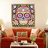 (US) 5D Flower Skull Diamond Painting Kit Rhinestone Embroidery Cross Stitch DIY Drill Art Craft Home Wall Decoration (H01)