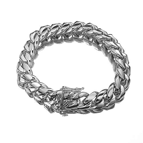 FANS JEWELRY Mens Silver Tone Cut Miami Curb Cuban Chain 316L Stainless Steel Necklace Bracelet (14mm_7.5