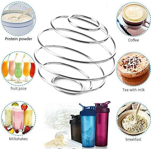 Milkshake Protein Shaker Ball, 5Pcs Food Grade Stainless Steel Wire Mixer Ball, Mixing Ball For Protein Milkshake Shakes Drinking Bottle Cup Protein Powder Coffee