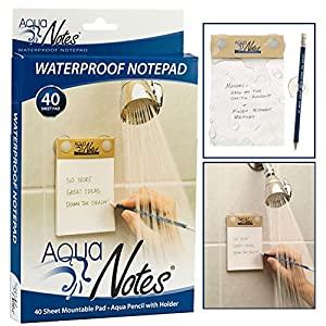 NEW Unique Paper Waterproof Notepad For Shower with Pencil Holder 40  Mountable Aqua Notes Great Gift 2017