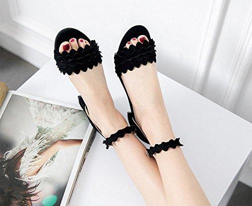 plana de forma sencilla y cómoda con sandalias planas en bruto con la palabra cingulado mujeres de las sandalias de tacón alto Black