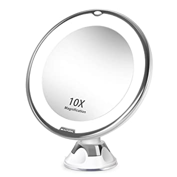 Amazon.com : BEAUTURAL 10X Magnifying Lighted Vanity Makeup Mirror With  Natural White LED, 360 Degree Swivel Rotation And Locking Suction : Beauty