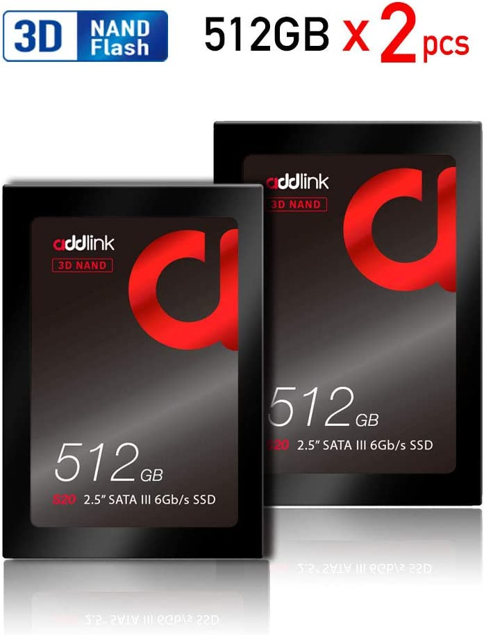 addlink S20 2 Pack 512GB SSD 3D NAND 2.5 inch SATA III 6Gb/s 7mm Internal Solid State Drive Read 550MB/s Write 500MB/s
