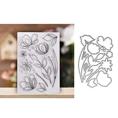 Clear Rubber Stamps + Metal Cutting Dies Stencil Template for Card Making Scrapbooking Embossing Album Decor DIY Crafts (1) (Rubber Stencils)