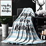 Unique Custom Double Sides Print Flannel Blankets Inspirational Quotes Every Day Is A New Adventure Calligraphy Text Watercolor Stripes Super Soft Blanketry for Bed Couch, Twin Size 60 x 80 Inches