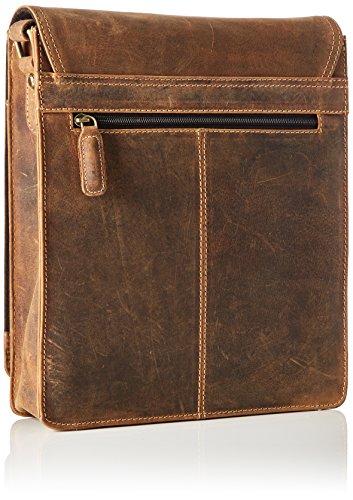 James Tyler Ledertasche London aus gewachstem Büffelleder, ca. 27 x 30 x 7 cm, Cognac Vintage