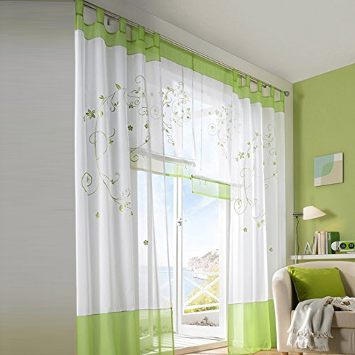 Sheer Curtains, Didihou 1 Panel 55″ x 102″ Elegance Wide-Width Room Windows Decorative Sheer Curtains Harness Panel Treatment (Green)