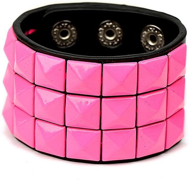 Wide Pink Pyramid Stud Bracelet.