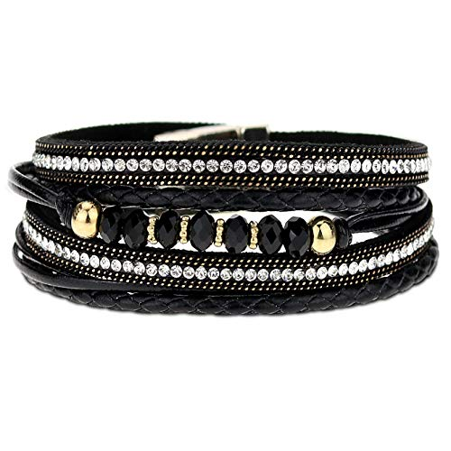 (Eivanc Black Wrap Bracelet Leather Multi-Layer Bracelet Bead Bracelet Crystal Rhinestone Boho Handmade Jewelry Cuff Bracelet with Magnetic Clasp for Women and Girls)