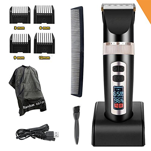 Professional Electric Hair Clippers For Men, Best Quiet Cordless For Boy & Kids, Personal Trimmers With Hair Cutting Cape Gift Set, Household USB LED Display Rechargeable Haircut Kit Guards