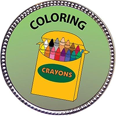 Keepsake Awards Coloring Award, 1 inch Dia Silver Pin Artistic Skills Collection: Toys & Games