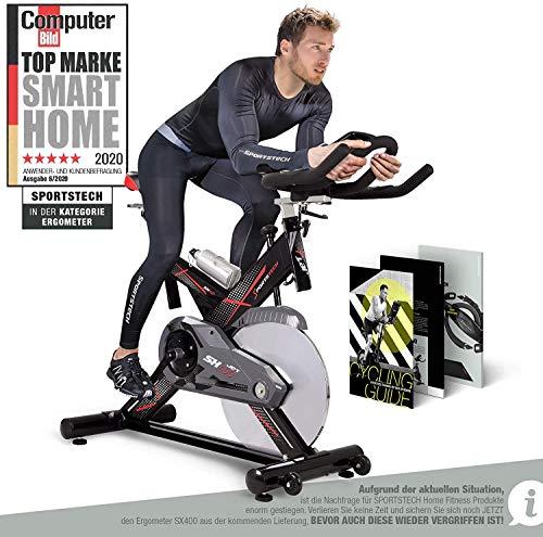 Sportstech SX400 professionele hometrainer, Duits kwaliteitsmerk, video en multiplayer app, gewicht 22 kg, ergometer met…