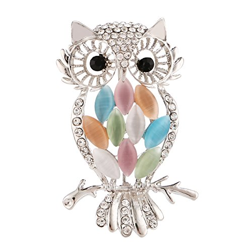 Owl Bird Brooch - YinMai Crystal Rhinestone Owl Bird Brooch Pin for Women with Multicolor Cat Eye Stone