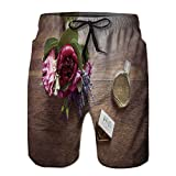 Mens Polyester Board Shorts,Wedding Day Bouquets and Tokens Surfing Shorts