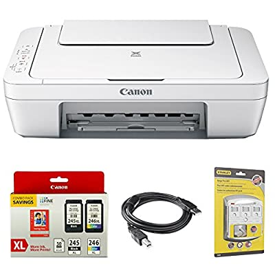 Canon Pixma All-In-One Color Printer, Scanner, Copier-0727C042 w/ Canon Ink Bundle Includes, Genuine Canon Ink Cartridge w/ Photo Paper Combo Pack, 6-Outlet Surge Adapter & 6ft. USB Printer Cable