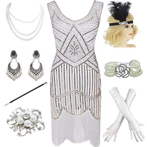 (1920s Gatsby Fringed Paisley Plus Size Flapper Dress with 20s Accessories Set (XXXL, White))
