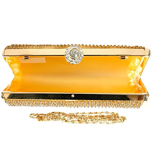 Silver Shimmering Clutch Fashion Purse Bridal Crystal Party Handbag Bag Gold Diamante Wocharm Hard Evening Encrusted Box Prom Case gqER58wn
