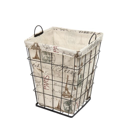 Adeco Multi Purpose Tall Square Iron Basket With Paris Eiffel Tower Themed Print Liner Travel Europe Home Decor