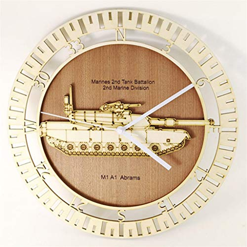3D M1 A1 Abrams Tank Wall Clock Military Battle Tank Wood Wall Clock Tank War Target Wall Decor Gift for Military Personnel ()