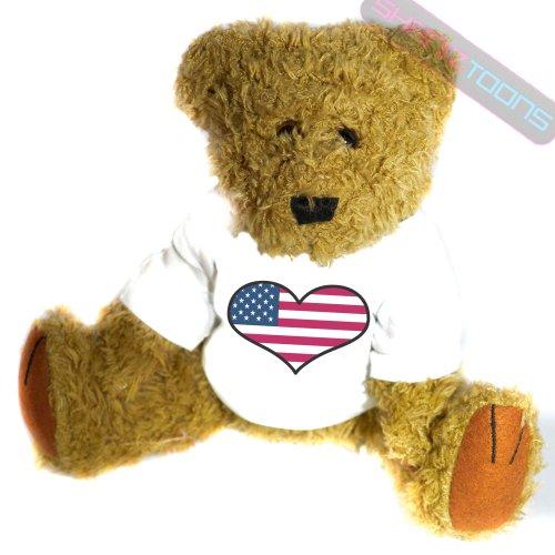 shaniztoons USA United States Love Heart Flag Mascot Gift Teddy ()