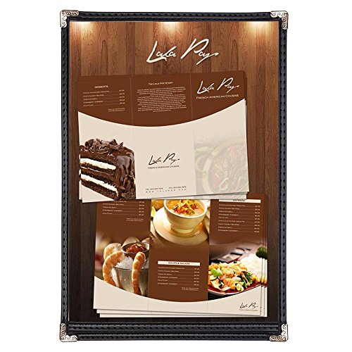 Yescom 30pcs 8.5x14inches Cafe Menu Cover Single 1 Page Double Stitch Protective Corner 2 View Black by Yescom
