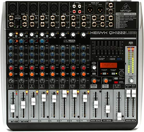 - BEHRINGER QX1222USB Premium 16-Input 2/2-Bus Mixer with Xenyx Mic Preamps & Compressors Klark Teknik Multi- FX Processor, Black