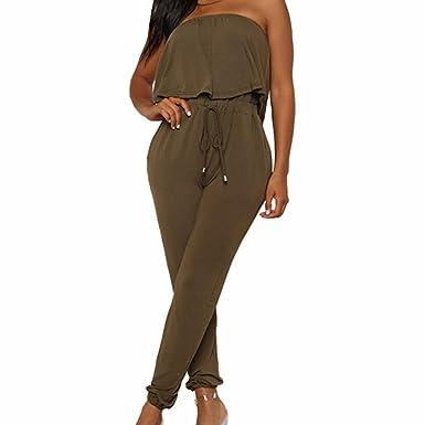 cb00f3844af8 Amazon.com  Gyoume Women Jumpsuit Rompers Summer Overalls Off Shoulder Set  Lace-up Pocket Jumpsuit  Clothing