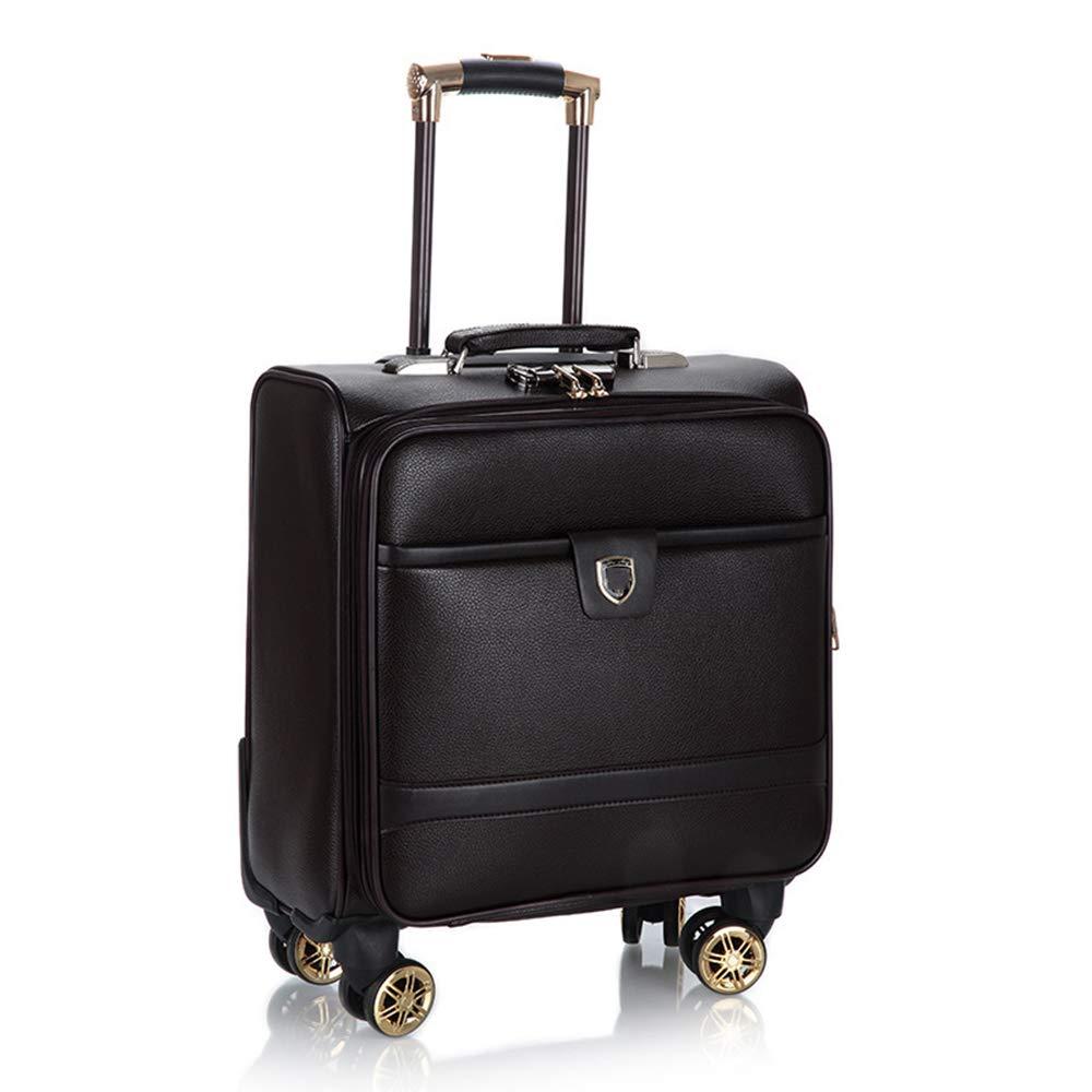 荷物スーツケース、出張PUレザーローリング荷物スーツケース、微調整レトロユニバーサル4輪トロリー、18インチキャリングスーツケース,A B07SJGLKBG A