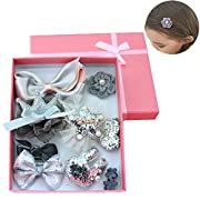SallyFashion Hair Accessories Hair Clips Bows Barrettes Hairpins with Box Packaging, Christmas Gift Xmas Presents for Toddlers, Baby, Girls, Women, Silvery