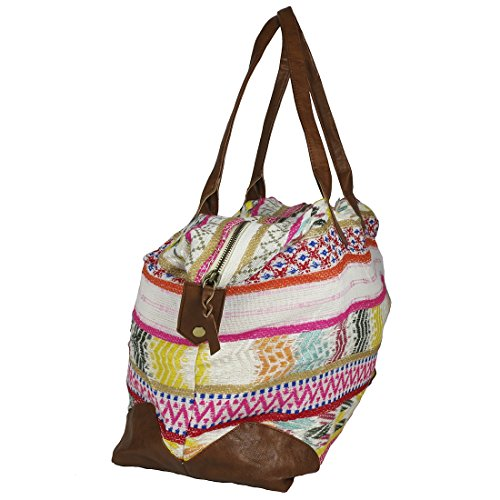 Raj Pink Multi Ethnic Print Duffle Bag Weekender with Leather by Raj Imports (Image #1)