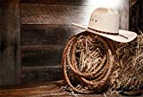 Yeele 5x4ft Western Cowboy Hat Photography Backdrop Straw Barn Rope Wooden Board Background for Pictures Kids Adults Photo Booth Shoot Vinyl Studio Props