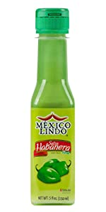 Mexico Lindo Green Habanero Hot Sauce   Real Green Habanero Chili Pepper   75,900 Scoville Level   Enjoy with Mexican Food, Seafood & Pasta   5 Fl Oz Bottles (Pack of 1)