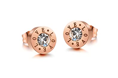 f207fe9aa66 findout rose gold plated titanium steel LOVE round Cubic Zirconia black  agate love live laugh stud earrings