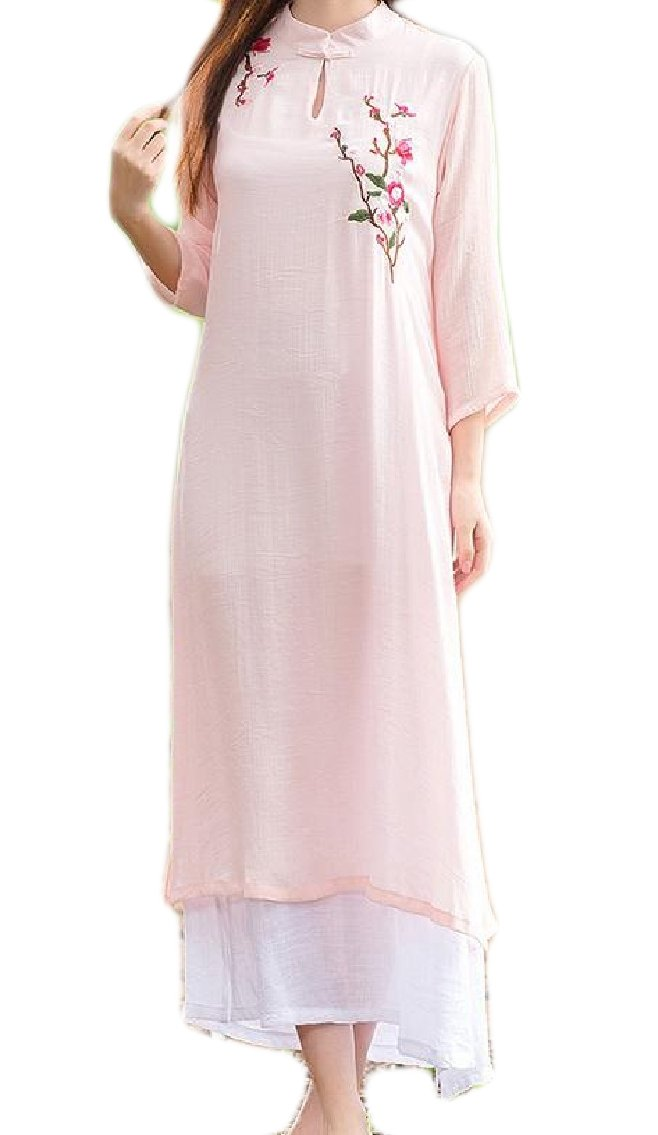 LinkShowWomen Flayers Casual Linen Swing Chinese Style Traditional Dress Pink1 L